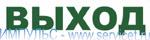 """Наклейка """"ВЫХОД"""" для аварийных и эвакуационных светильников надписи зеленого цвета, прозрачная основа"""