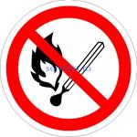 P-02 Запрещается пользоваться открытым огнем и курить (табличка на пластике - знак безопасности)
