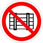 Знак: P-12 Запрещается загромождать проходы и (или) складировать (табличка на самоклеющейся пленке - наклейка)