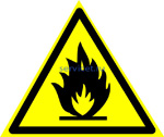 Знак: W-01 Пожароопасно. Легковоспламе- няющиеся вещества (табличка на самоклеющейся пленке - наклейка)
