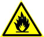 W-01 Пожароопасно. Легковоспламе- няющиеся вещества (табличка на пластике - знак безопасности)