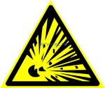 W 02 Взрывоопасно (наклейка светиться в темноте - фотолюминисцентный знак)