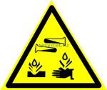 Знак: W 04 Опасно. Едкие и коррозионные вещества (табличка на самоклеющейся пленке - наклейка)