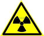 Знак: W-05 Опасно. Радиоактивные вещества или ионизирующее излучение -табличка на самоклеющейся пленке - наклейка