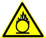 Знак: W-11  Пожароопасно. Окислитель - табличка на самоклеющейся пленке - наклейка
