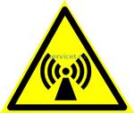 Знак: W-12 Внимание. Электромагнитное поле - табличка на самоклеющейся пленке - наклейка