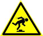 W-14 Осторожно. Малозаметное препятствие - табличка на пластике - знак безопасности