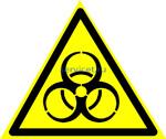 W-16 Осторожно. Биологическая опасность (Инфекционные вещества) - табличка на пластике - знак безопасности