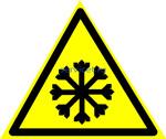 Знак: W-17 Осторожно. Холод - табличка на самоклеющейся пленке - наклейка