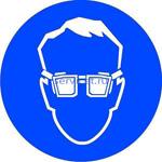 M 01 Работать в защитных очках - наклейка светиться в темноте - фотолюминисцентный знак