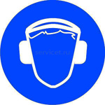 Знак: M-03 Работать в защитных наушниках - табличка на самоклеющейся пленке - наклейка