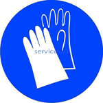 Знак: M-06 Работать в защитных перчатках - табличка на самоклеющейся пленке - наклейка
