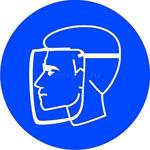 Знак: M-08 Работать в защитном щитке - табличка на самоклеющейся пленке - наклейка