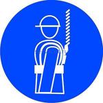 Знак: M-09 Работать в предохранительном (страховочном) поясе - табличка на самоклеющейся пленке - наклейка