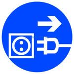 Знак: M-13 Отключить штепсельную вилку - табличка на самоклеющейся пленке - наклейка