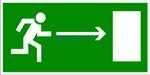 Знак: E-03 Направление к эвакуационному выходу направо - табличка на самоклеющейся пленке - наклейка