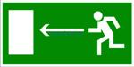 E-04  Направление к эвакуационному выходу налево - табличка на пластике - знак безопасности