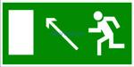 Знак: E-06  Направление к эвакуационному выходу налево вверх - табличка на самоклеющейся пленке - наклейка