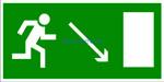 E 07 Направление к эвакуационному выходу направо вниз - наклейка светиться в темноте - фотолюминисцентный знак