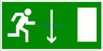 E 09 Указатель двери эвакуационного выхода (правосторонний) - наклейка светиться в темноте - фотолюминисцентный знак