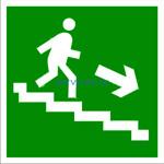 E 13 Направление к эвакуационному выходу по лестнице вниз направо - наклейка светиться в темноте - фотолюминисцентный знак