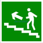 E-16 Направление к эвакуационному выходу по лестнице вверх налево - табличка на пластике - знак безопасности
