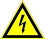 Знак: T-05, T-06  ОСТОРОЖНО! ЭЛЕКТРИЧЕСКОЕ НАПРЯЖЕНИЕ (молния) - табличка на самоклеющейся пленке - наклейка