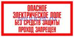 Знак: T-10 ОПАСНОЕ ЭЛЕКТРИЧЕСКОЕ ПОЛЕ. БЕЗ СРЕДСТВ ЗАЩИТЫ ПРОХОД ЗАПРЕЩЕН - табличка на самоклеющейся пленке - наклейка